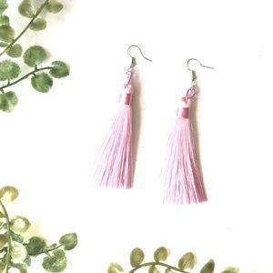 Tassel earrings pink handmade lightweight